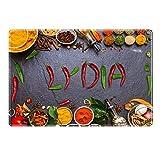 Tischset mit Namen ''Lydia'' Motiv Chili - Tischunterlage, Platzset, Platzdeckchen, Platzunterlage, Namenstischset