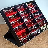 iGeekor Présentoir de luxe pour lunettes de soleil Extérieur noir Intérieur rouge 18 casiers