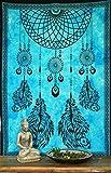 Guru-Shop Indisches Wandtuch, Batik Tagesdecke - Chakra Traumfänger/Türkis, Baumwolle, 190x140 cm, Bettüberwurf, Sofa Überwurf
