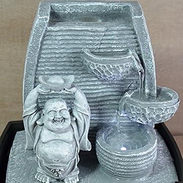 Zen Luz de pared Fuente cubierta Laughing Buddha Piedra Gris / negro 20 x 15 x 24 cm 5