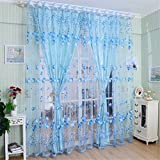 LnLyin Tulip Scarf Sheer Voile Door Window Curtain Drape Panel Tulle Valances Divider,Blue