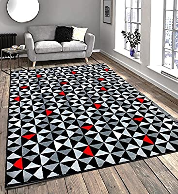 Modern Contemporary Black, Grey, Cream & Red Very Funky Extra Large Rug