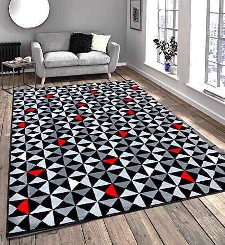 moderno-e-contemporaneo-nera-grigio-crema-rosso-molto-funky-tappeto-extra-grande-120x170cm