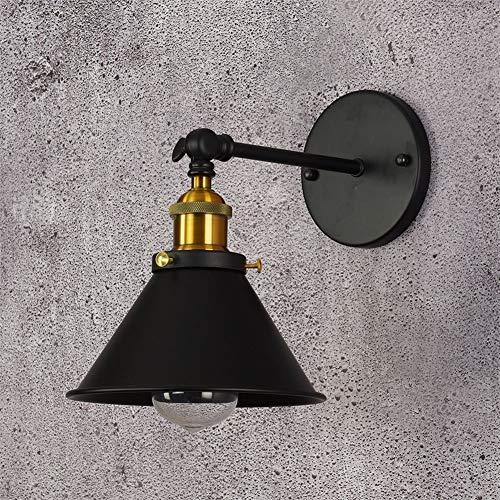 YLCJ Wandleuchte im Industriestil Einfache Wandleuchten, Persönlichkeit Retro Schwarzes Wandspotlicht, kurzer Abschnitt Studie Leselampe, Hallen-Nachtlicht (Pad: 110 V) -
