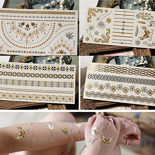 Yuccer tatuaggi temporanei, metallico flash tattoo impermeabile splendenti tatoo finti removibili per bambini adulti donna glitter tattoos per collane, bracciali, fasce e caviglie (4 pacchi)