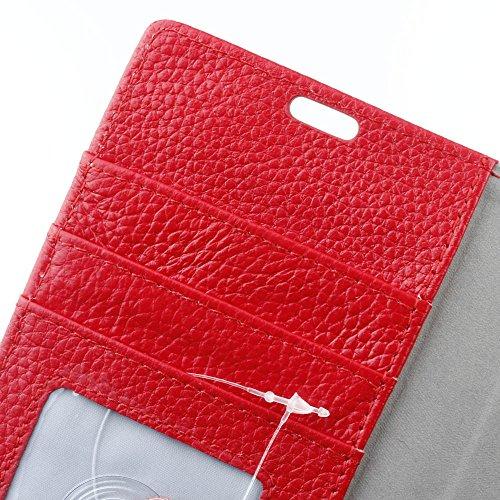 JIALUN-Telefon Fall Echtes Leder-Holster-Kasten Retro Litchi Beschaffenheits-Mappen-Standplatz-Fall-Abdeckung mit Karten-Schlitzen u. Kickstand für iPhone 8 ( Color : White ) Red