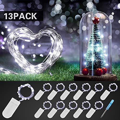 Etmury Led Lichterkette mit Batterie, 12 Stück 2M 20 LED Drahtlichterkette, 3000K IP68 Wasserdicht Lichterkette, Micro-Lichterkette außen Kaltweiß für Innen Außendeko, Hochzeit, Weihnachten