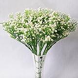 YSBER Mode 10 Stücke Weiß Gypsophila Künstliche Gefälschte Schöne Blume Home Party Hochzeitsdekor Blumen (Weiß)