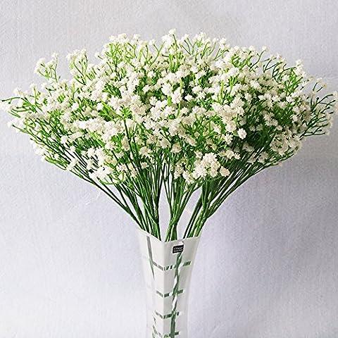Fashion 10 Pcs White Gypsophila Artificial Fake Beautiful Flower Home Party Wedding Decor Flowers