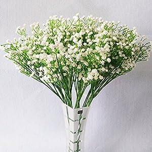 YSBER Moda 10 Pcs Blanco gypsophila Artificial Fake Hermosa Flor casa Fiesta Boda decoración Flores
