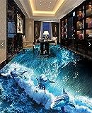 Wongxl Film De Plancher 3D Stéréo 3D À 3D Wall Design Et La Cartographie Papier Peint Océan Magique 3D'Abîme À La Danse Des Dauphins Et Requins 350cmX300cm