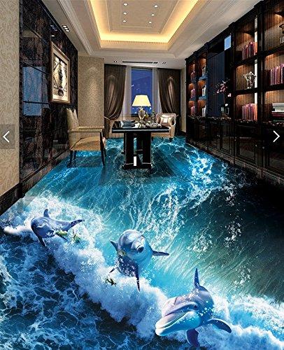 Poowef 3d wallpaper 3d stereoscopica in 3d pellicola sul pavimento per la progettazione 3d dipinti a muro magico oceano sfondo abisso 3d per gli squali e delfini dance