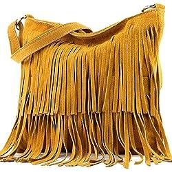 modamoda de - ital bandolera con flecos de gamuza T125, Color:cúrcuma