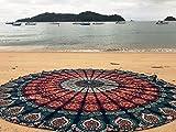 Raajsee, rundes Strandtuch, Boho, Überwurf, Hippie, Tapisserie, Baumwolle, Tischdecke, Meditation, Yoga-Matte, Teppiche von Orange Mandala