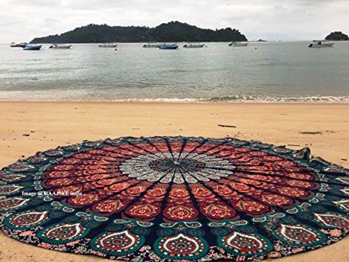 Ronda toalla de playa, Boho manta Hippie tapiz algodón mantel Meditación Yoga Mat Alfombra por hipistry Hub (naranja)