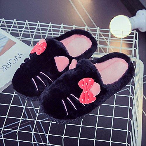 Plüsch Hausschuhe Winter Indoor Pantoffeln Wärme Weiche Leicht Cartoon Katze Plüsch Slippers für Herren und Damen Schwarz