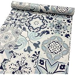 Papel adhesivo LoveFaye patrón clásico de porcelana, impermeable, revestimiento de cajón de armario, 45cm x 3m
