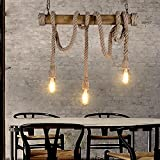 MEIREN@Cafe Seil Anhänger Neuerungen Seil, Kronleuchter, home Fashion Anhänger, Vintage Stimmung , 3 head