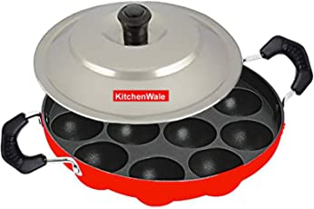 Kitchenwale Non Stick 12 Cavity Pancake Maker (Large Size, Red)