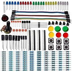DSD TECH Componente Electrónico Kit básico de arranque con condensador de resistencia LED Transistor de diodo y cable Dupont para Arduino UNO R3 Mega 2560 Nano Raspberry Pi