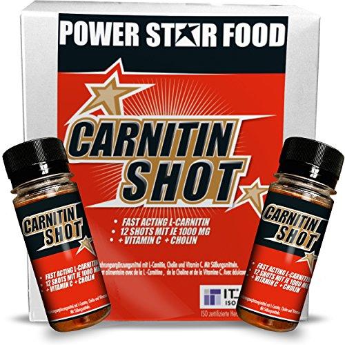 CARNITIN SHOT - HOCHDOSIERT - Fatburner / Fettverbrenner + Cholin & Vitamin C zur Beschleunigung deiner DIÄT & DEFINITIONSPHASE - 12 Fläschchen à 60 ml - MADE IN GERMANY