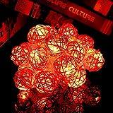 Happyit 3M 20pcs Led Rattankugel Lichterkette String Lights für Neujahr Weihnachts Dekoration Hochzeit Party Home Dekoration Lichter (rot)