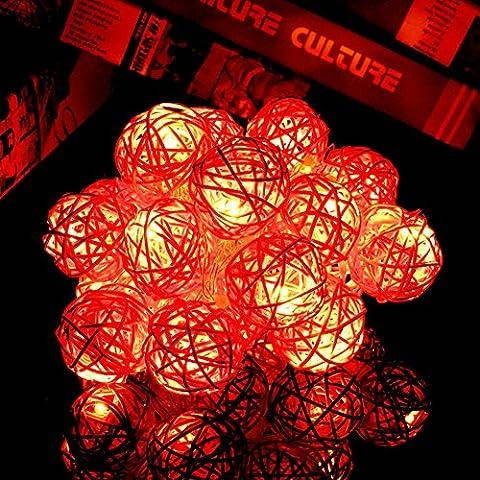 Happyit 3M 20pcs Led Rattankugel Lichterkette String Lights für Neujahr