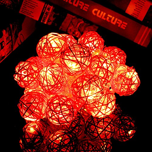 Rattankugel Lichterkette String Lights für Neujahr Weihnachts Dekoration Hochzeit Party Home Dekoration Lichter (rot) (Origami Halloween-laterne)