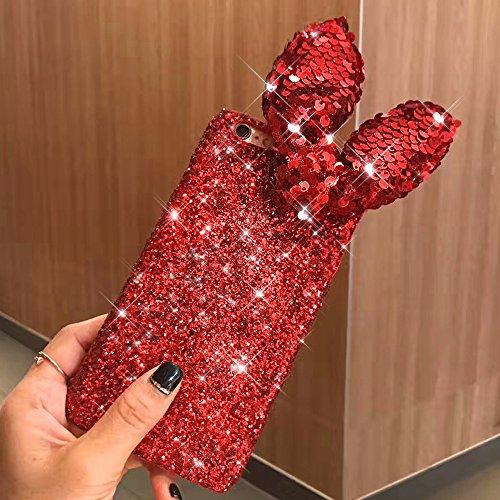 Cover iPhone 8 Plus,Cover iPhone 7 Plus,Custodia iPhone 8 Plus / iPhone 7 Plus Cover,ikasus® Diamanti di cristallo lucidi Glitter con Modello dellorecchio del coniglio Handmade di lusso 3D del fumett Rosso