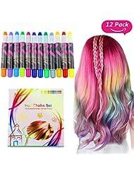 Buluri Haarkreide Non-Toxic 12 Farbe Natürliche Haare Kreide Stifte Temporäre Haarfarbe für Mädchen, Weihnachten & Geburtstag