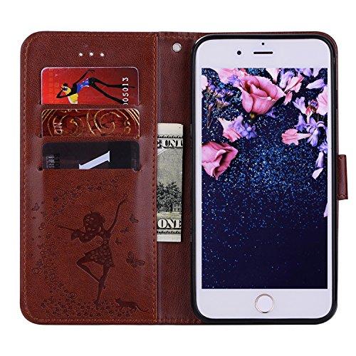 iPhone 6S Ledertasche, ZXK CO 2 in 1 PU Leder Hülle Flip Wallet Case Cover mit Herausnehmbarem Backcover für iPhone 6/6S 4,7 Zoll Brieftasche Schutzhülle im Bookstyle mit Karten Slots Standfunktion un Braun