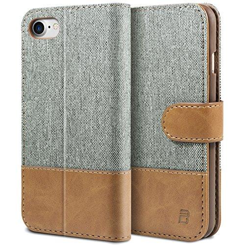 iPhone 8 Hülle, iPhone 7 Hülle BEZ Handyhülle iPhone 7 Hülle Klappbar, Handytasche Schutzhülle Tasche Flip Case [Stoff Bezug und PU leder] mit Kreditkartenhaltern, Standfunktion - Grau
