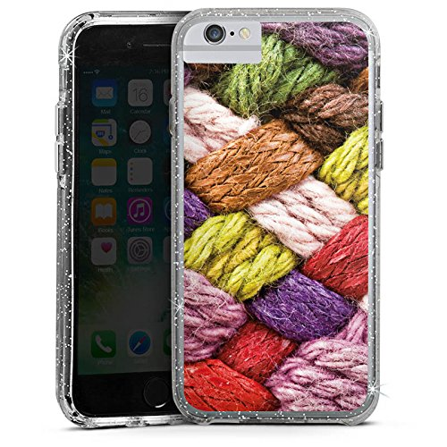 Apple iPhone 6s Plus Bumper Hülle Bumper Case Glitzer Hülle Wolle Look Stricken Colourful Bumper Case Glitzer silber