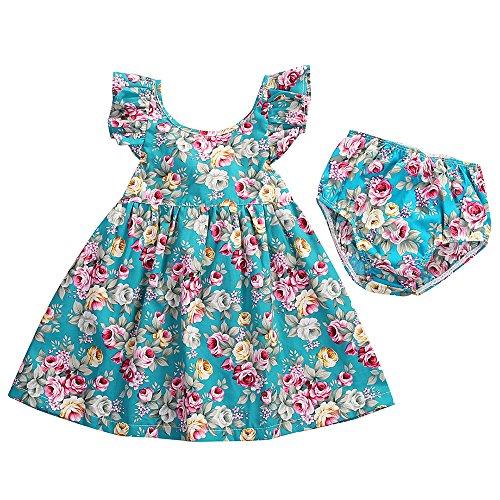 BEAUTOP Baby Mädchen Kinder Baby Sleeveless Sommer Kleidung Set Floral Rock mit Dreieck Hosen für 0-4 Jahre alt -