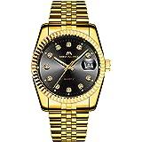 MEGALITH Montre Homme Montre Bracelet de Mode Or Etanche Date Acier Inoxydable Classique Design Montres pour Homme Unisexe Qu