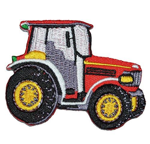 Bügelbild - Traktor rot - 7 cm * 5,5 cm - Aufnäher Applikation - gestickter Flicken - für Jungen Kinder Bauernhof Auto Fahrzeug