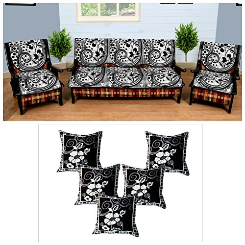 Buy Wow Latest Design Polycotton 5 Seater Sofa Cover With Cushion