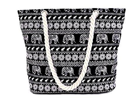 Minetom Damen Strandtasche Shopper Aufdruck Style Schultertasche mit Reißverschluss Elefant