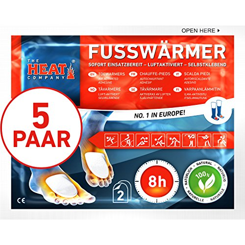THE HEAT company Toe Warmers adhesive, Foot Warmers, 8 hours of warmth, stick on socks, 5 pairs.