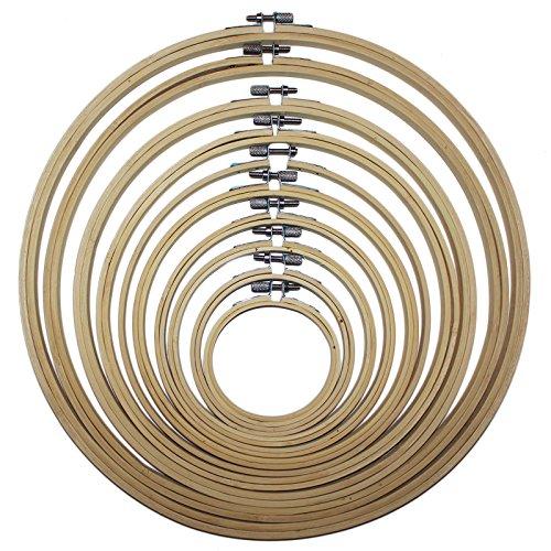 linjunddd 4X Stickrahmen Aus Bambus Kreis F/ür Stickerei-Kreuz-Stich 17 20 23 26cm