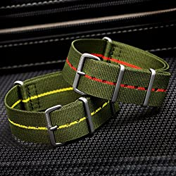 ZULUDIVER® Marine Nationale Nylon NATO Watch Strap, Green, Pin Stripe, Satin Hardware, 20mm, 22mm