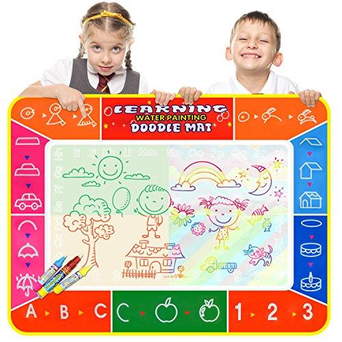 Color You Wasser Doodle Matte, Wasser Zeichnen Malmatte 100 x 70cm mit 3 Magic Stifte ,Wiederverwendbare Aqua Zeichnung Drawing Painting Matte für Kinder Baby Toddler