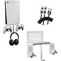 Support Mural pour PS5 Console, Hosanwell Support pour PS5 avec 2 Support de Manette Détachable et Support de Casque, en…
