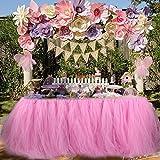 """Aytai Tutu Gonna da tavolo Tulle fatto a mano Tovaglia per la festa nuziale Baby Shower Birthday Girl Princess Party Supplies Decorazioni 39.4 """"x31.5 (Pink)"""
