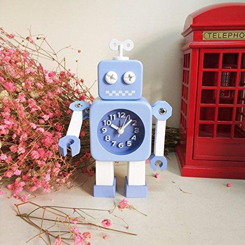 Ayzr Roboter Wecker Kinder Cartoon Minimalismus Schlafzimmer Wohnzimmer Lounge Studentenwohnheim, Blau
