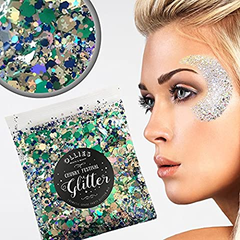30g Chunky Festival Cosmetic Glitter With Holographic And Iridescent Mixed Loose Flakes For Face Skin Body Hair Lips Nails Decoration Multi Colour Funky Mixes (Sea