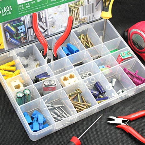24 Grids Multipurpose Transparent Plastic Storage Box with Removable Dividers for Storing Various Items