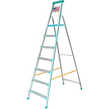 Euro Pro Household Aluminium Step Ladder 7 Steps - Folding - Tool Tray - Abs Platform - Ultra Light Weight