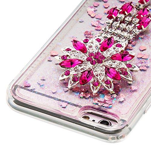 """MOONCASE iPhone 6S Plus Coque, Glitter Sparkle Bling [Owl] Faux Diamant Dessin Motif Liquide Étui Coque pour iPhone 6 Plus / 6S Plus 5.5"""" Soft TPU Gel Souple Case Housse de Protection Or 04 Rose 01"""