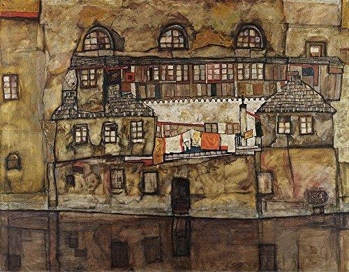Das Museum Outlet–Egon Schiele–Haus Wand On The River, gespannte Leinwand Galerie verpackt. 29,7x 41,9cm